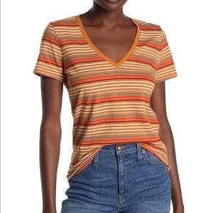 Madewell Striped V-neck Short Sleeve Shirt - Small